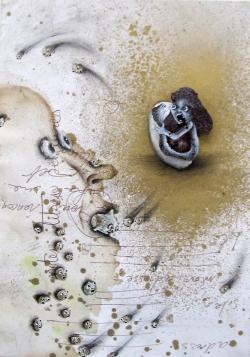 marlene-mocquet-attention-insatiable-21x14-5cm-2014-bombe-aerosol-graphite-stylo-indelebile-inclusion-pigment-et-peinture-vinylique-sur-papier-07106eb378b7fcb6fe6ee70feea3fa36