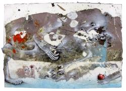 marlene-mocquet-relation-sous-presse-15x21x2-5cm-2015-poussiere-cheveux-sciure-de-bois-huile-resine-vinylique-colle-crayon-de-couleur-bombe-aerosole-blanc-9e65110ec5f6a6a498d3ce6d121171f2